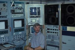 Ian Hampton aboard the South African R/V Africana in 1990 Photo