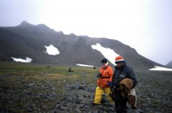 AMLR scientist Roger Hewitt a scientists from the neighboring Chilean base on Livingston Island. Photo