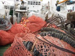 Fishing nets and gear used for research trawls on the R/V Yuzhmorgeologiya. Photo