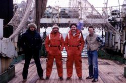 Left to Right: Kristof Skora, James Brennan, Kevin Hill, and Jerry Finan aboard the R/V Professor Siedlecki during the joint U.S.-Poland research crui Photo
