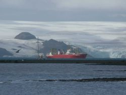 The RV Yuzhmorgeologiya sits in Admiralty Bay, awaiting scientists who are offloading supplies to the Copacabana field station on King George Island Photo