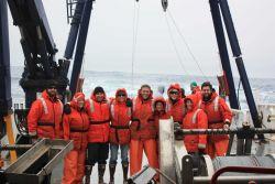 The AMLR crew on the stern of the R/V Yuzhmorgeologiya. Photo