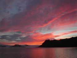 Sunrise over Admiralty Bay, King George Island. Photo