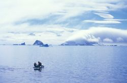 Two AMLR scientists in a Zodiac, South Shetland Islands, Antarctica. Photo