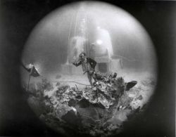 Scientist-aquanaut in the Tektite Program prepares for an extended stay away from his General Electric designed and built habitat in Great Lameshur Ba Photo