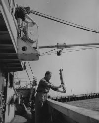 Dockside checking of the plankton and hydrographic booms and blocks on the FWS ship ALBATROSS III Photo