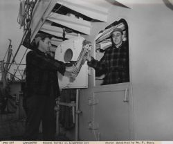 Preparing to take a Nansen Bottle cast on the ALBATROSS III Photo