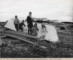 Umiak used by King Islanders at summer home. Photo