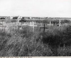 The town of Bethel seen beyond the cemetery. Photo