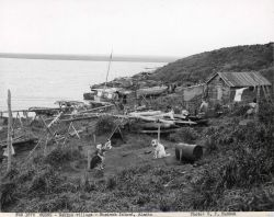 Eskimo village with dogs, boats and house. Photo