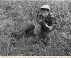 Aleut boy sitting in the grass with a fur seal pup Photo