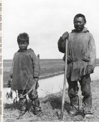 Native American eskimos at Hooper Bay, just south of the mouth of the Yukon River. Photo