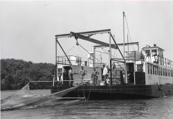 Alewife research - Setting experimental mid-water trawl from VIMS ferryboat LANGLEY Photo