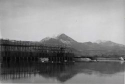 Bonneville Dam forebay showing rafts and floats holding fyke nets in postion. Photo