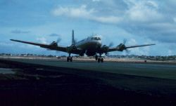 Weather Bureau DC-6 taking off from Seawell Photo