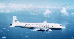 Weather Bureau DC-6 N6539C in flight. Photo