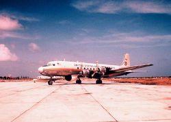 Weather Bureau DC-6 N6539C on tarmac with ESSA designator. Photo
