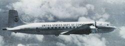 NOAA DC-6 N6539C in flight. Photo