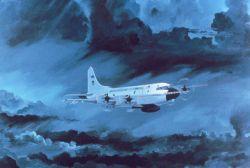 Artist's rendition of NOAA WP-3D flying in storm Photo