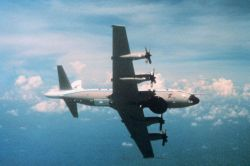 NOAA P-3 in flight showing underside Photo