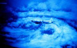 NOAA P-3 flying in eye of Hurricane Caroline Photo