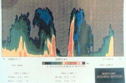 Precipitation intensity display of Hurricane Gilbert derived from tail doppler radar. Photo