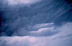Eye wall of hurricane. Photo
