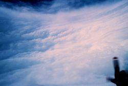 Viewing eye wall of a hurricane. Photo