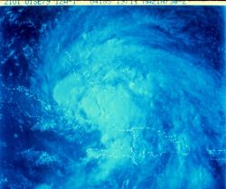 Satellite view of a tropical storm in the Caribbean area Photo