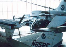 A menagerie of NOAA aircraft at the NOAA hangar at MacDill AFB Photo