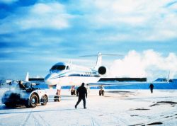 Gulfstream IV in Alaska on winter storms project. Photo