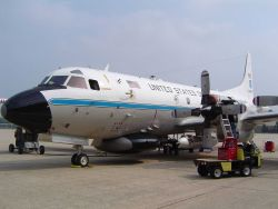 NOAA P-3 research aircraft outfitting for a project. Photo