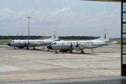 NOAA hurricane hunting P-3 aircraft N42RF and N43RF on the tarmac. Photo