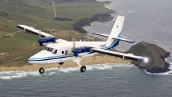 NOAA Twin Otter N56RF conducting marine mammal surveys off the Big Sur coastline. Photo