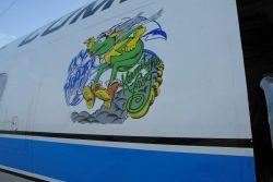 Kermit the Frog Sky Hopper art adorning NOAA P-3 hurricane hunter aircraft N42RF . Photo