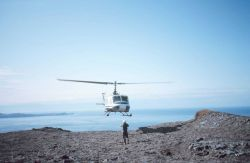 Helping guide Bell helicopter to safe landing along the Alaska Peninsula. Photo