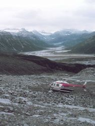 Leased Bell 206 on Redoubt Volcano during seismic observation surveys by University of Alaska for OCSEAP. Photo