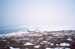 Ice studies on barrier island offshore of Seward Peninsula. Photo