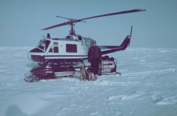 Brendan Kelley, University of Alaska, Fairbanks, conducting seal research on the frozen Beaufort Sea north of Prudhoe Photo