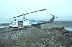 NOAA Bell UH-1M supporting seismic studies on the Alaska Peninsula. Photo