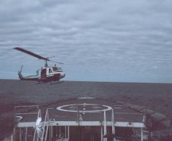 NOAA Bell UH-1M operating off NOAA Ship SURVEYOR helicopter platform. Photo