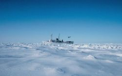 NOAA Ship SURVEYOR stuck in the ice of the Bering Sea southwest of Point Barrow Photo