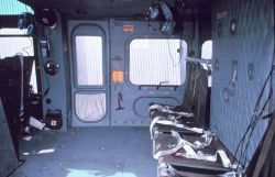 Interior of NOAA helicopter showing cargo and passenger carrying area. Photo