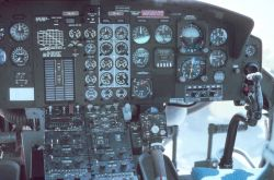 Instrumental panel on Bell 212 helicopter. Photo