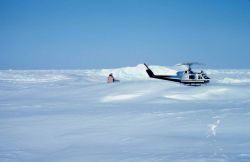 Helicopter operations on the Bering Sea during Outer Continental Shelf Environmental Assessment studies. Photo