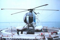 MD500 helicopter secured on flight deck of the DAVID STARR JORDAN Photo