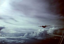 C-130 outfitted for research flying with NOAA aircraft over the tropical Atlantic. Photo