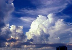 Late afternoon cumulus buildup as seen from the roof of a University of Miami building. Photo