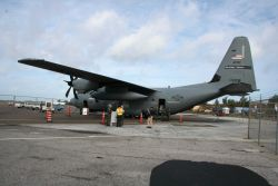 WC130-J Hurricane Hunter aircraft is readied for viewing during stop in Bermuda bringing hurricane preparedness message to Mexico and the Caribbean. Photo