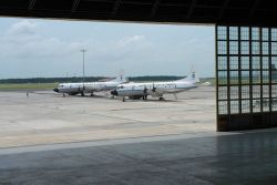 NOAA hurricane hunters on the tarmac at Macdill Air Force Base. Photo